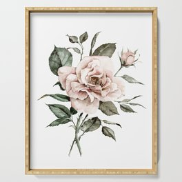 Faded Pink Rose Serving Tray