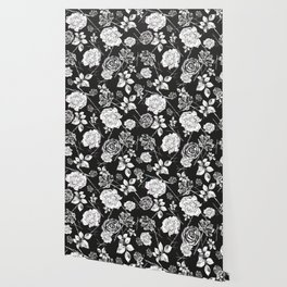 Black White Peony, Roses and Cosmos Flowers Elegant Summer Pattern Wallpaper