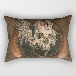 Awesome creepy skull with rat Rectangular Pillow