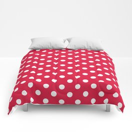 Small Polka Dots - White on Crimson Red Comforters