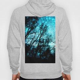 black trees turquoise teal space Hoody
