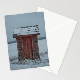 Snow Covered Outhouse Rural Michigan Winter Field Stationery Cards