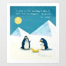 Penguins and bananas Art Print