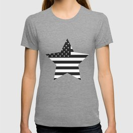 American Flag Stars and Stripes Black White T-shirt