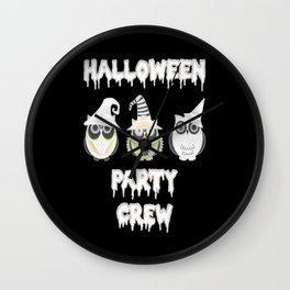 Halloween party crew owls Scary costume Wall Clock