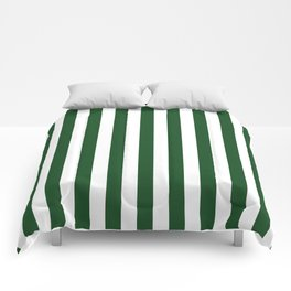 Large Forest Green and White Rustic Vertical Beach Stripes Comforters