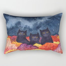 Three Black Cats in Autumn Watercolor Rectangular Pillow