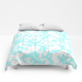 Spots - White and Celeste Cyan Comforters