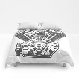 Vintage motorcycle engine in design fashion modern monochrome style illustration Comforters