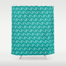 Wave Pattern | Teal and White Shower Curtain