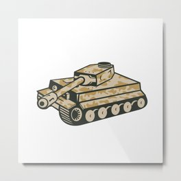 World War Two Panzer Tank Retro Metal Print