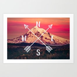 Snowy Mountain Compass Art Print
