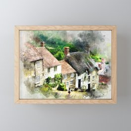 Shaftesbury, England (Watercolor Painting) Framed Mini Art Print