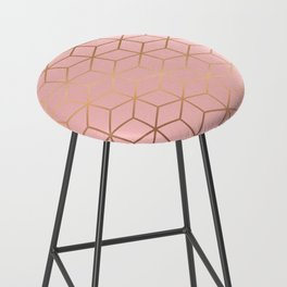 Pink and Gold Geometry 011 Bar Stool