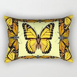 ORIGINAL DESIGN  ABSTRACT OF YELLOW & ORANGE MONARCH BUTTERFLIES BROWN ART Rectangular Pillow