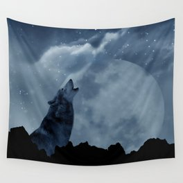 Wolf howling at full moon Wall Tapestry