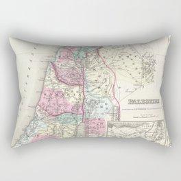 Old 1855 Historic State of Palestine Jerusalem Zion Map Rectangular Pillow