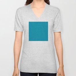 Turquoise Très Petit Geometric Pattern Unisex V-Neck