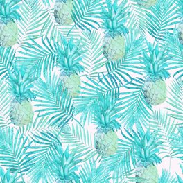 Bath Mat - Turquoise Palm Leaves and Pineapples on Pink - Nature Magick