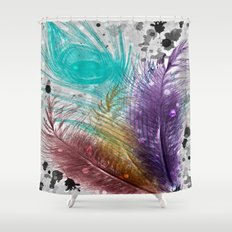 Feathers and Ink Shower Curtain
