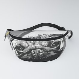 hungry pug dog vector art black white Fanny Pack