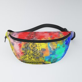 Eiffel Tower at Paris hotel and casino, Las Vegas, USA,with red blue yellow painting abstract backgr Fanny Pack