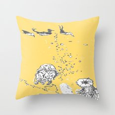 Two Tailed Duck and Jellyfish Pale Yellow Mellow Throw Pillow