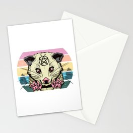 Live Ugly Fake Your Death -Satanic Possum T-Shirt Stationery Cards