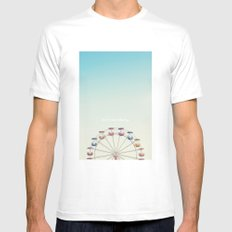 Don't Stop Believing  MEDIUM White Mens Fitted Tee