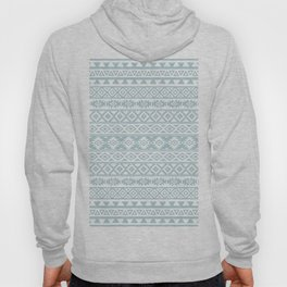 Aztec Stylized Pattern Duck Egg Blue & White Hoody