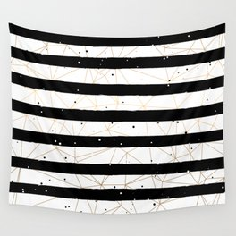 Vintage Black and White Stripes Gold Geometric Pattern Wall Tapestry