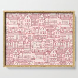 cafe buildings pink Serving Tray