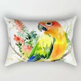 Sun Conure Parakeet, tropical colors parrot art design Rectangular Pillow