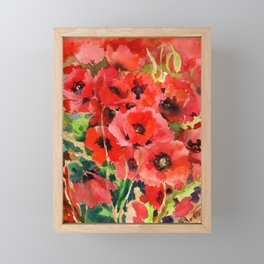 Red Poppies red floral pattersn texture poppy flower design Framed Mini Art Print
