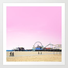 Santa Monica Pier with Ferries Wheel and Roller Coaster Against a Pink Sky Art Print