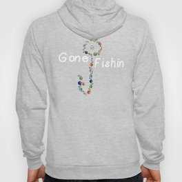 Gone Fishin Fishing Lures and Hooks on Gray Background Hoody