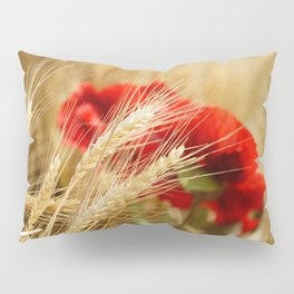 Field of golden wheat with red poppy flowers Pillow Sham
