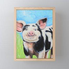 Happy Pig Painting Framed Mini Art Print