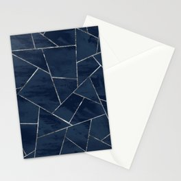 Midnight Navy Blue Ink Silver Geometric Glam #1 #geo #decor #art #society6 Stationery Cards