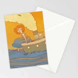 She landed on a passing by boat that took her to a little island Stationery Cards