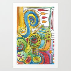 colourful doodle Art Print