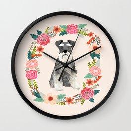schnauzer floral wreath dog breed pet portrait dog mom Wall Clock