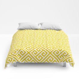 yellow white pattern - Greek Key pattern -  Greek fret design Comforters