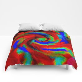 Red Blue Green Fireball Sky Explosion Comforters
