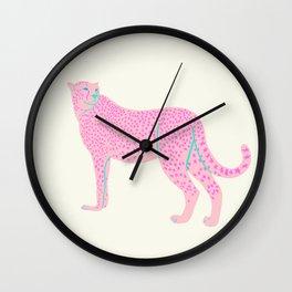PINK STAR CHEETAH Wall Clock