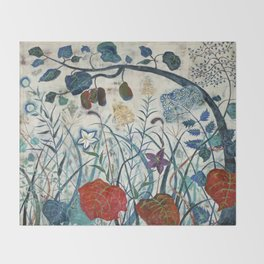 nature【Japanese painting】 Throw Blanket