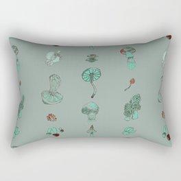 Misty Fungal Mushroom Fungus Watercolor Agaric Morel Rectangular Pillow