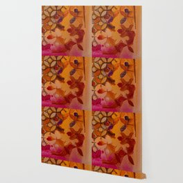 a piece of orange and pink Wallpaper