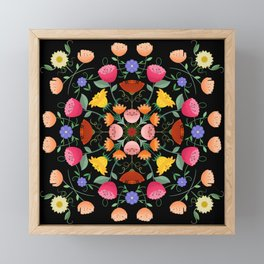 Folk Art Inspired Garden Of Fantastic Floral Delight Framed Mini Art Print