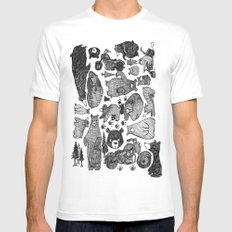 Bear and motorcycles White MEDIUM Mens Fitted Tee